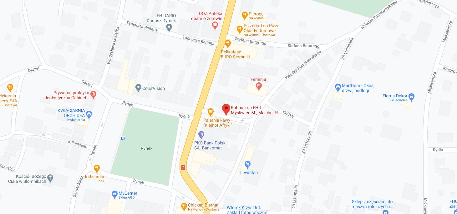 Zdjęcie mapy z lokalizacją firmy Robmar